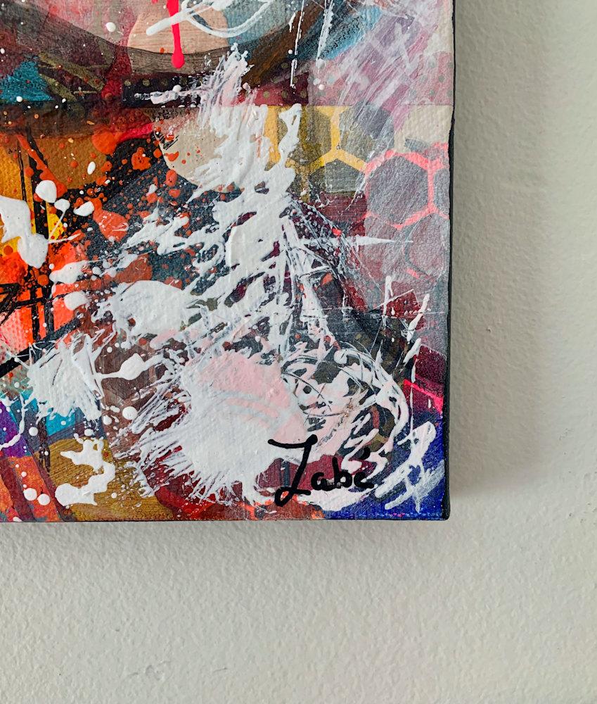 8x10 zabe arts multi colored lips mixed media signature