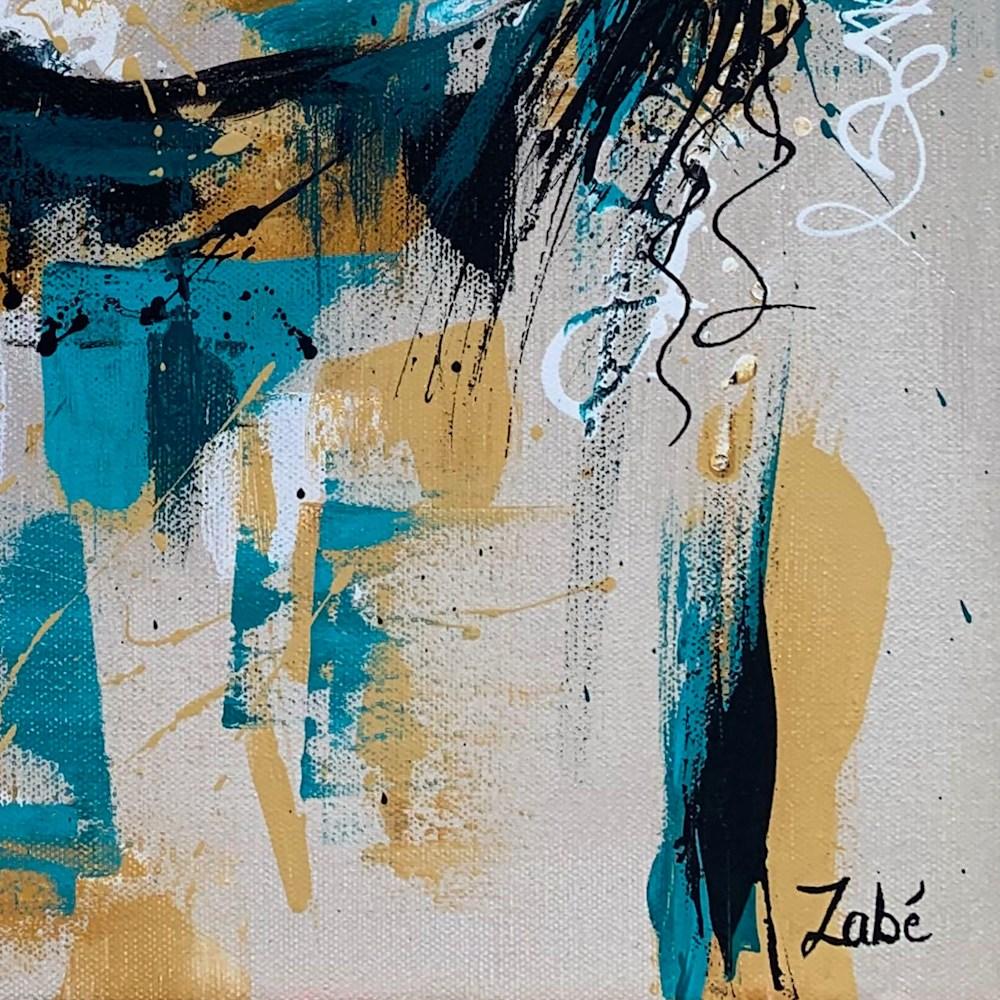 16x20 zabe arts green smile portrait painting  signature