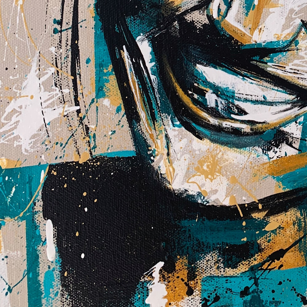 16x20 zabe arts green smile portrait painting close up1