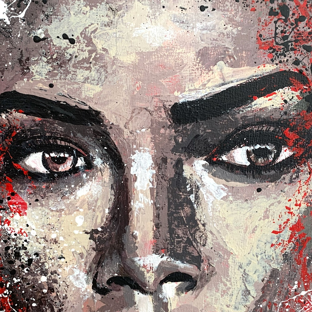 12x12 zabe arts red face portrait collage painting close up1
