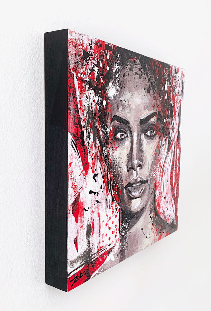 12x12 zabe arts red face portrait collage painting trancheG