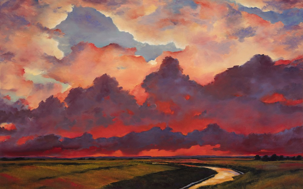 Evening Comes Over the Wetlands oil 30x48 wallace