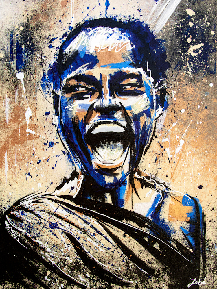 18x24 zabe arts blue acrylic painting