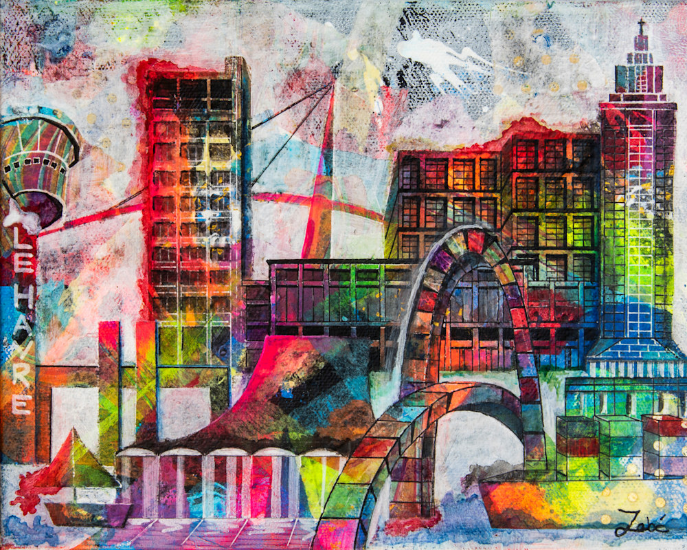 10x8 zabe arts lehavre city skyline mixed media