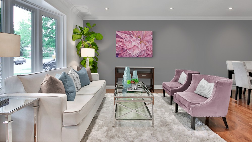 Traditional style lounge with large corner plant