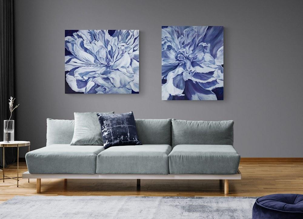 Purple Peonies in Living Room