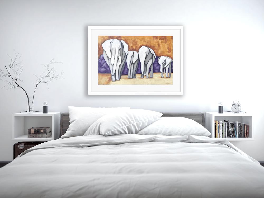 abstract elephant herd bedroom 568612456