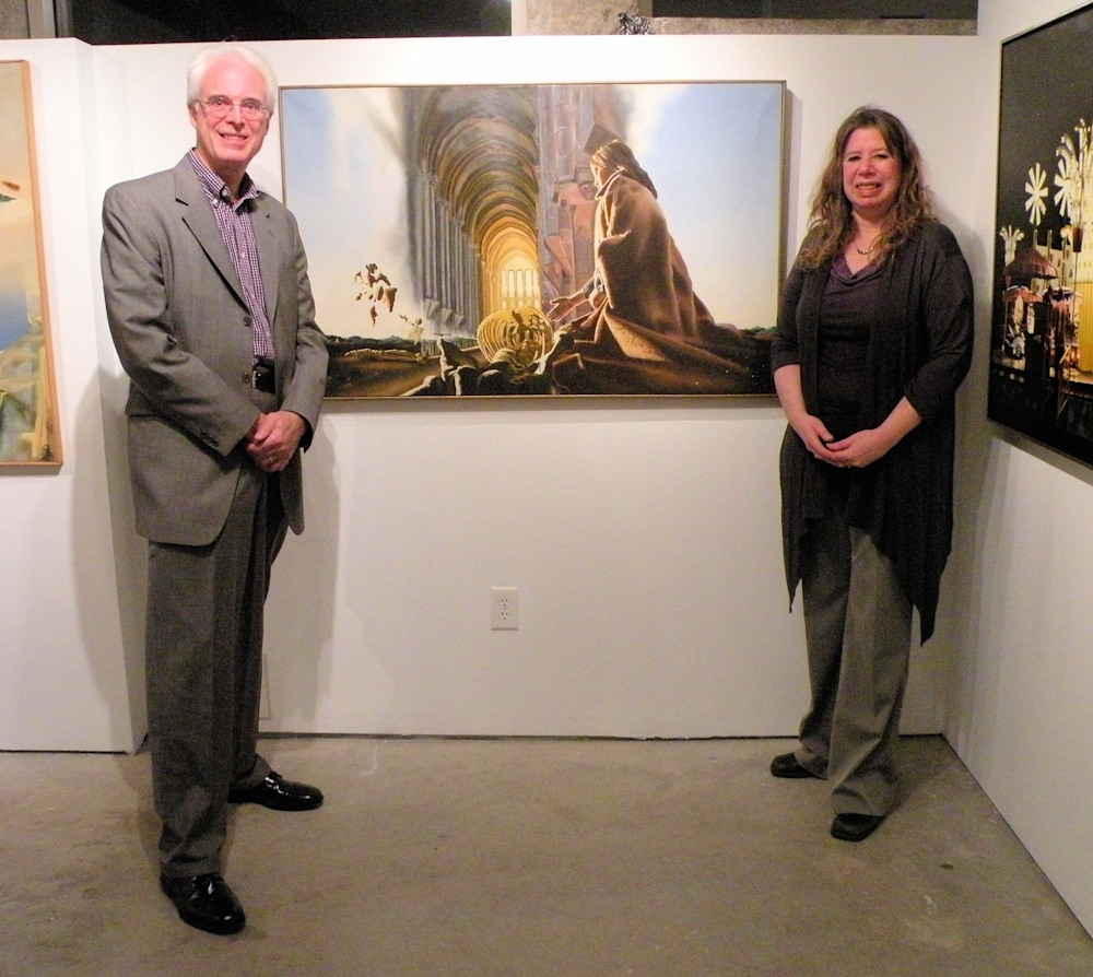Dave Martsolf Windham NH and the oil painting The Cathedral and Galatea Fine Art Gallery Director Marjorie Kaye