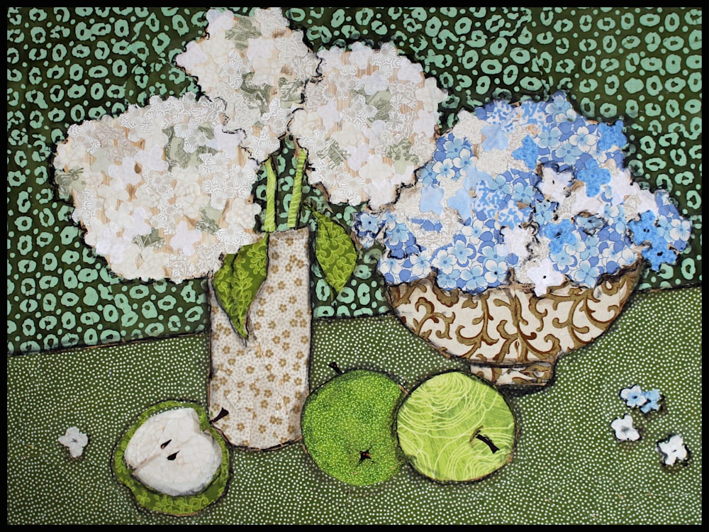 Hydrangea and Green Apples Framed