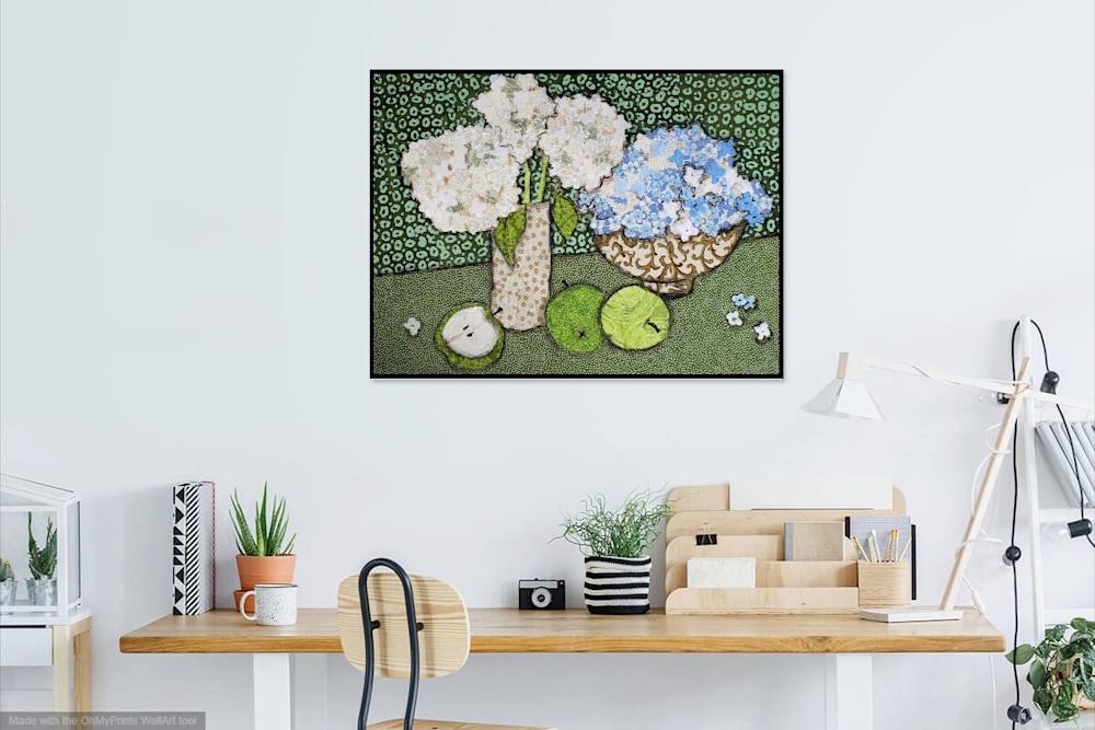 Hydrangea and Green Apples Scene
