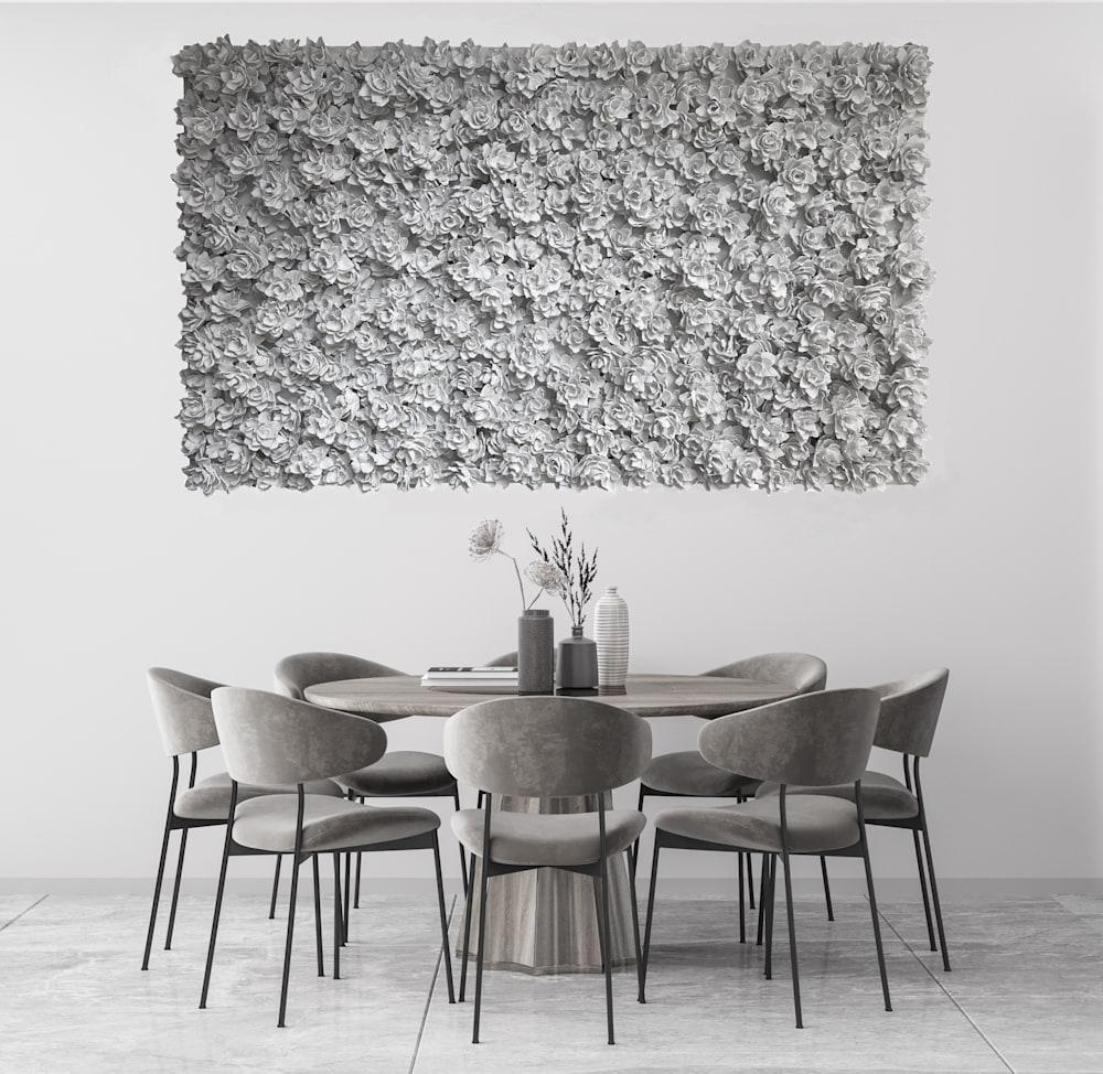dining room white roses1