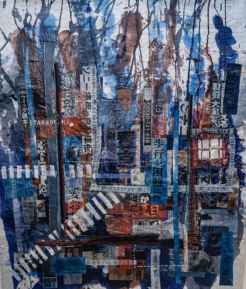 Muffy Clark Gill Shibuya Crossing 34 x 28 in mixed media – Version 2