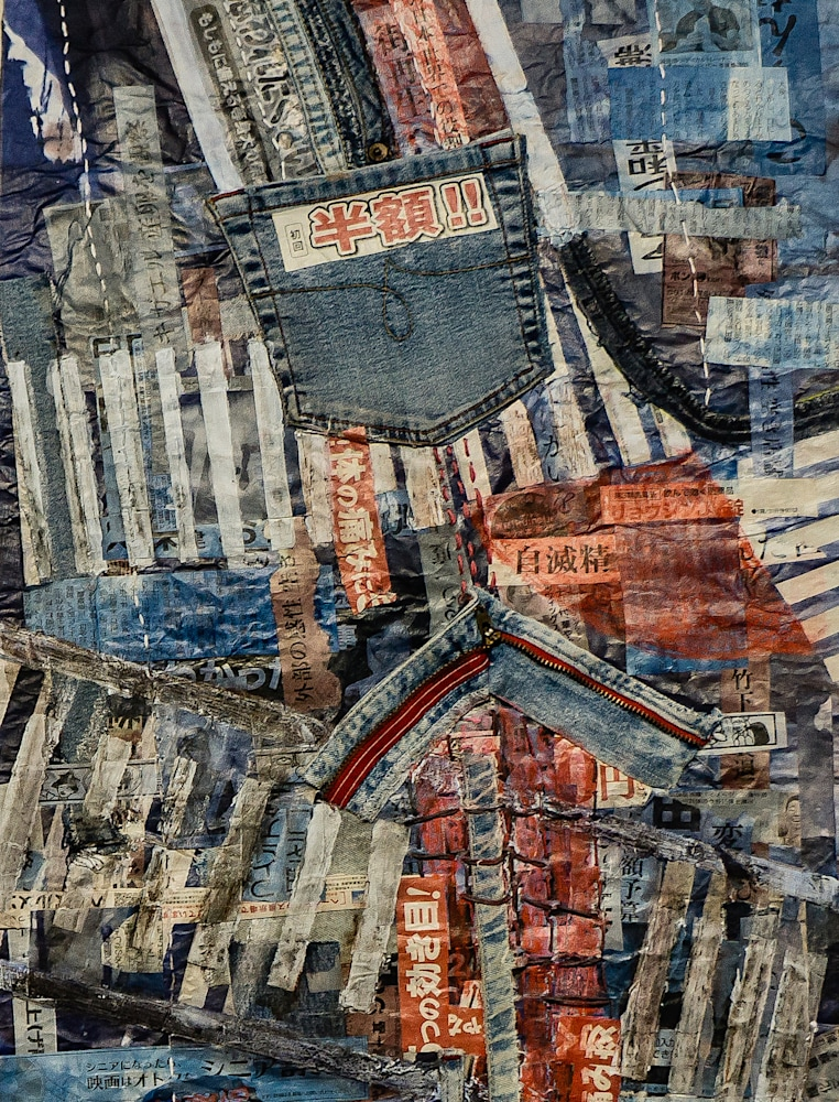 Muffy Clark Gill Shibuya Crossing 2 detail mixed media 42 x 17 in