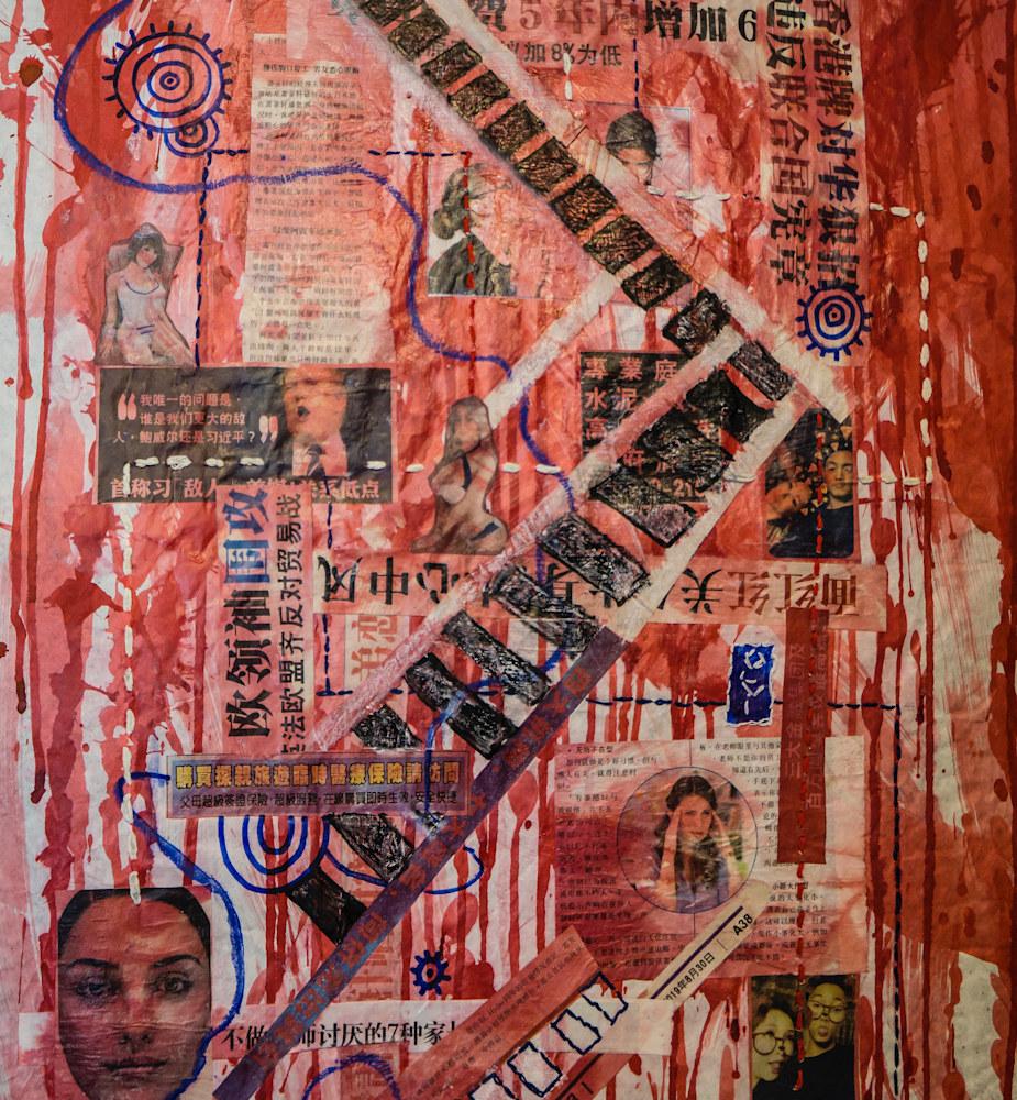 detail Muffy Clark Gill Bleeding Love  mixed media 38 x 18 in