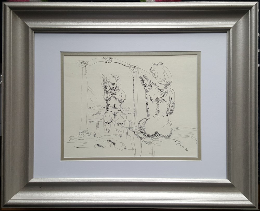 woman bathing framed