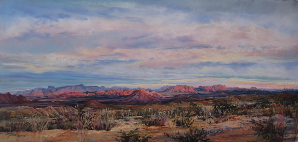 A Terlingua Sunset 18x38 pastel Lindy Cook Severns
