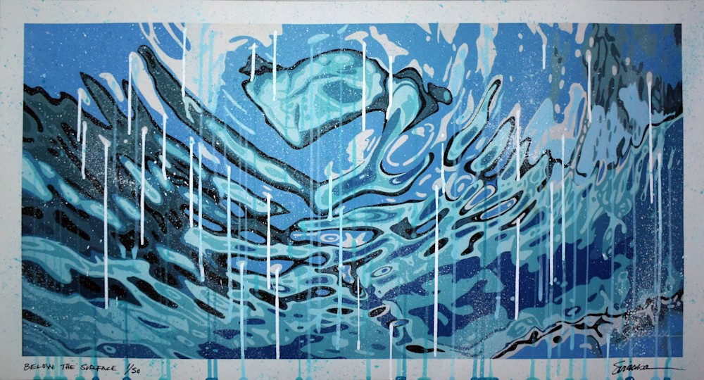 Below the Surface 30x16 Dripped and Splattered Print