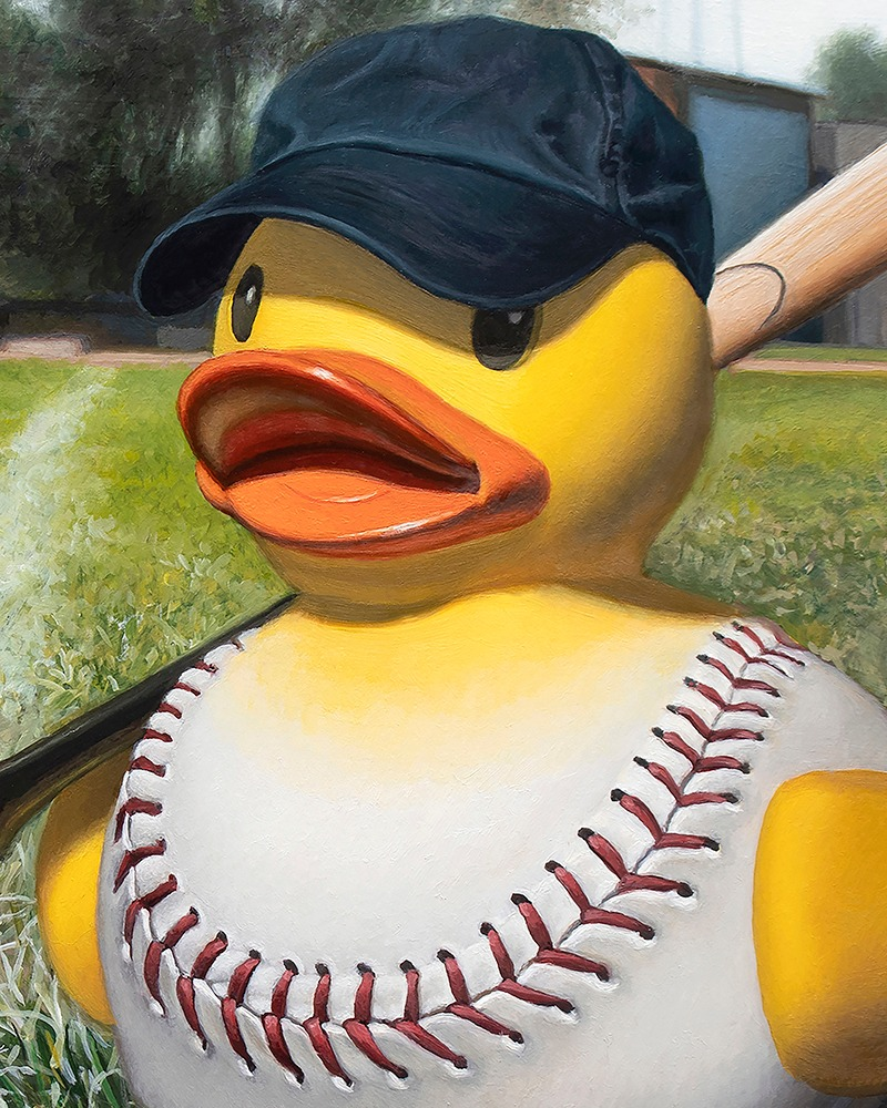 Kevin Grass Fowl Ball Detail Acrylic and oil on aluminum panel painting