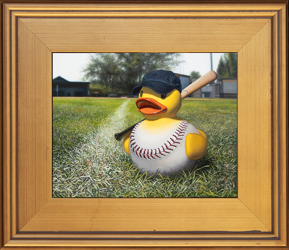 Kevin Grass Fowl Ball Gold Frame Acrylic and oil on aluminum panel painting