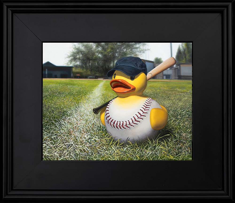 Kevin Grass Fowl Ball black frame Acrylic and oil on aluminum panel painting