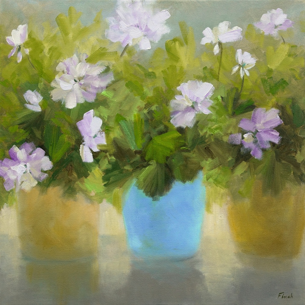 4649 white flowers 20x20 oil sheila finch