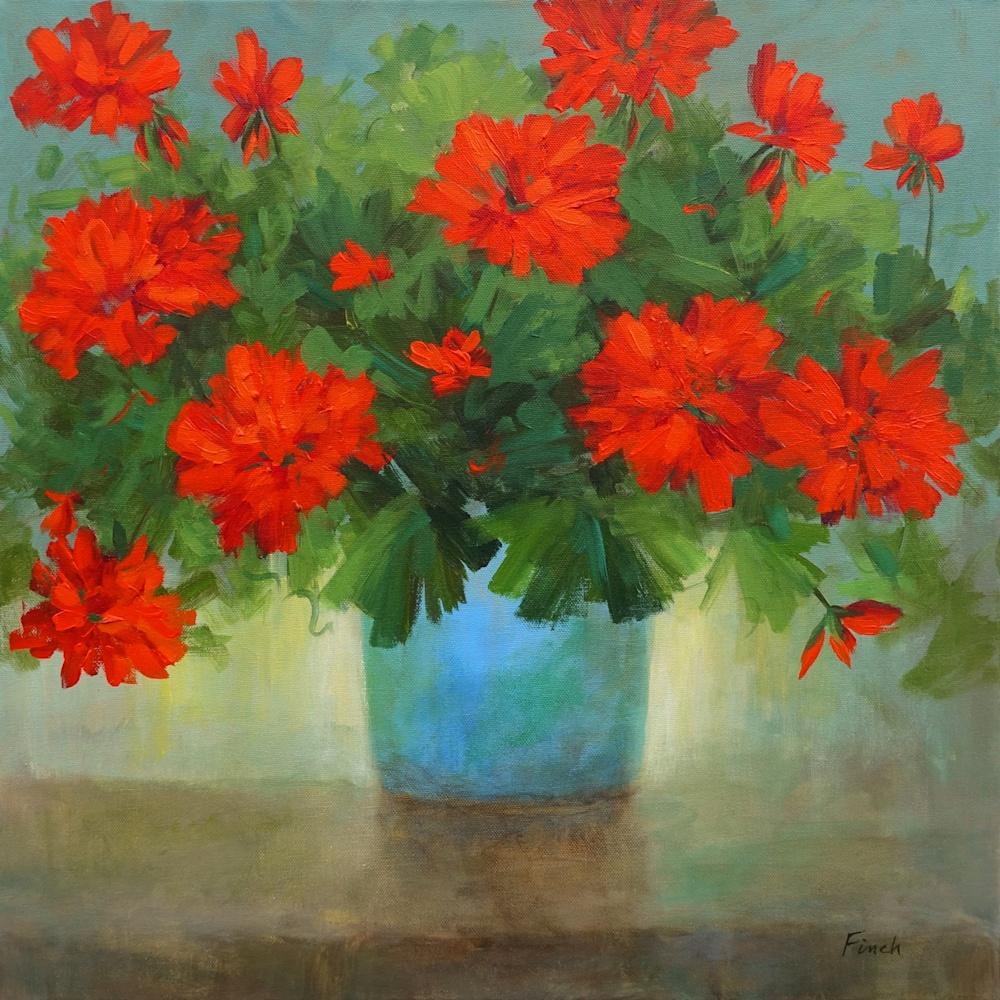 4648 red geraniums in a blue pot 20x20 sheila finch