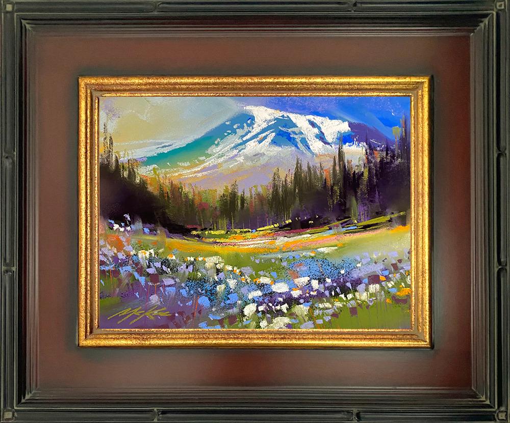 Mount Raineer Golden framed