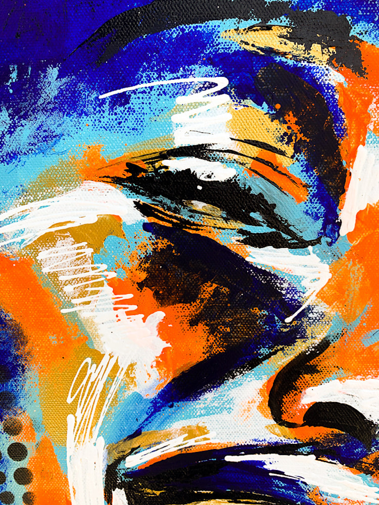24x36 zabe arts acrylic painting blue laughter zoom2