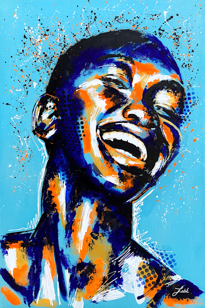 24x36 zabe arts acrylic painting blue laughter