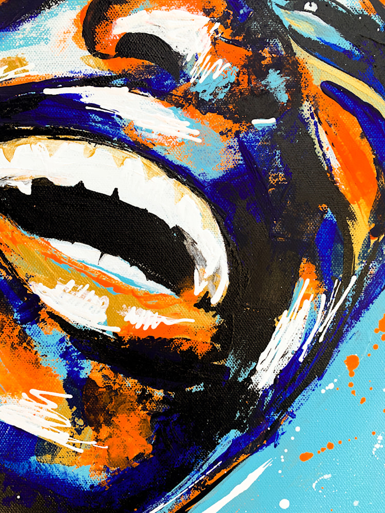 24x36 zabe arts acrylic painting blue laughter zoom3