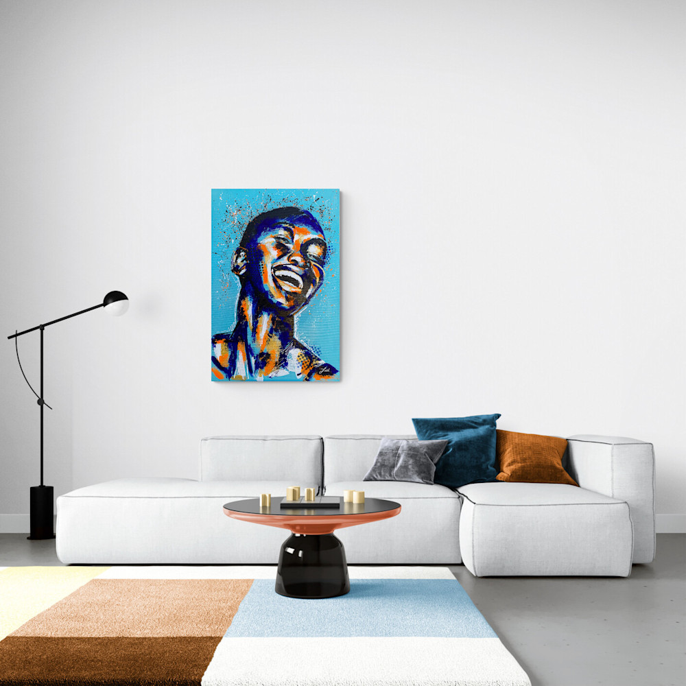 24x36 zabe arts acrylic painting blue laugher situation4