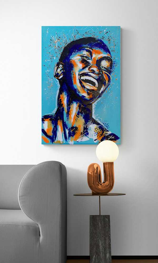 24x36 zabe arts acrylic painting blue laugher situation2