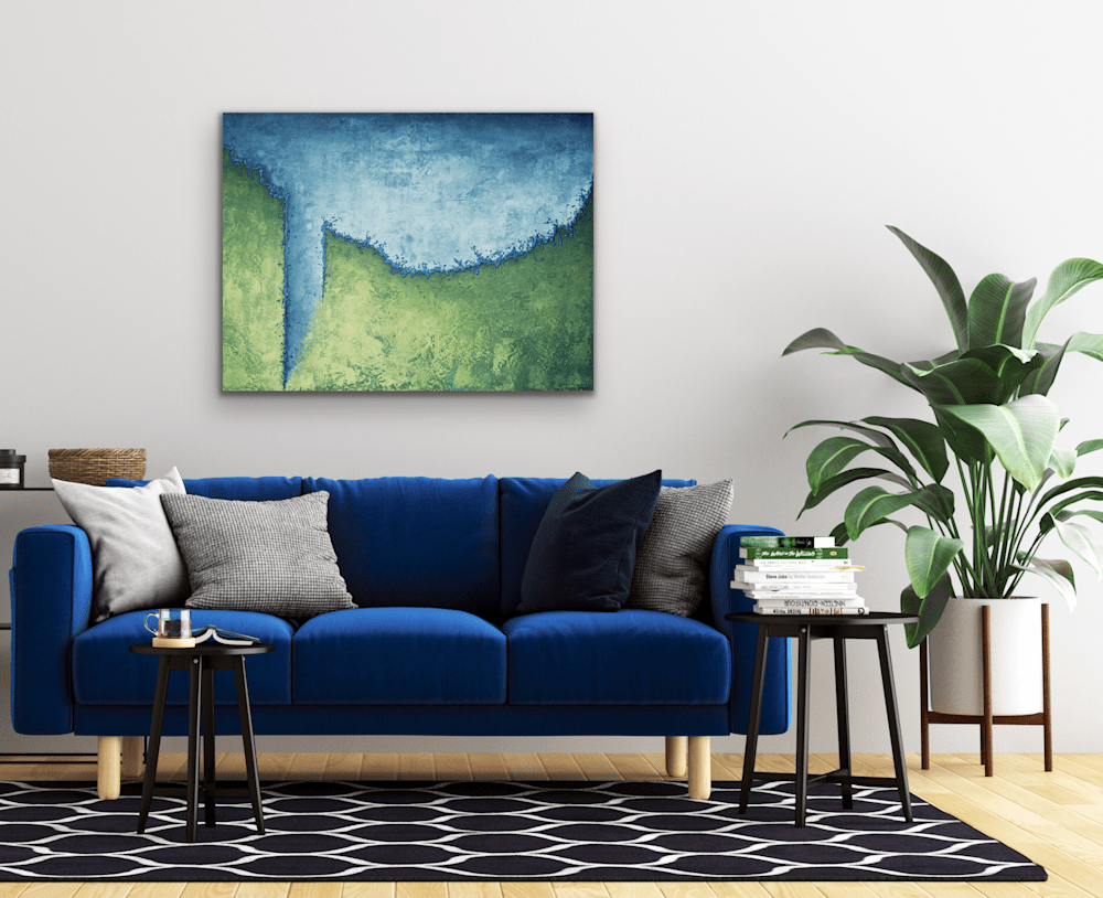 The Harder I Swim over blue couch