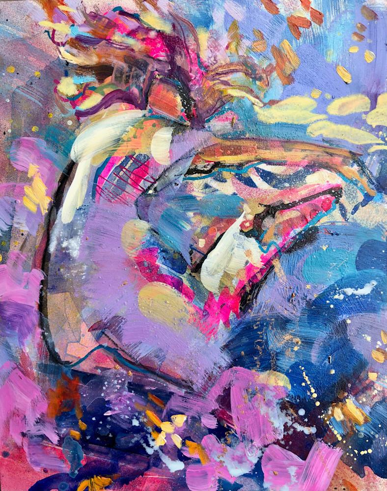 Heaven Dancers 6, mixed media oil on wood, 10x8