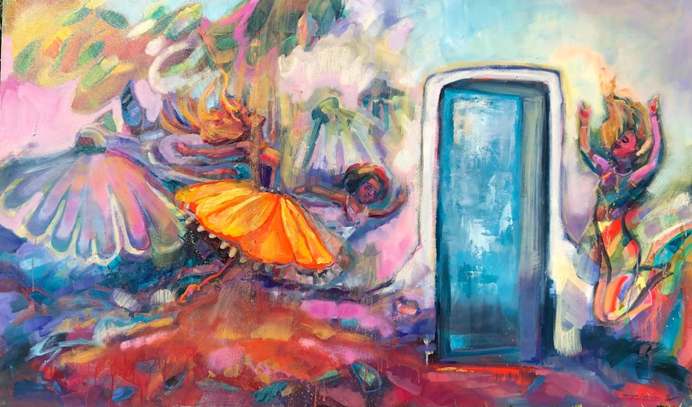Blue Portal Breakthrough Heaven Dancers 9, oil and mixed media on canvas, 36x60