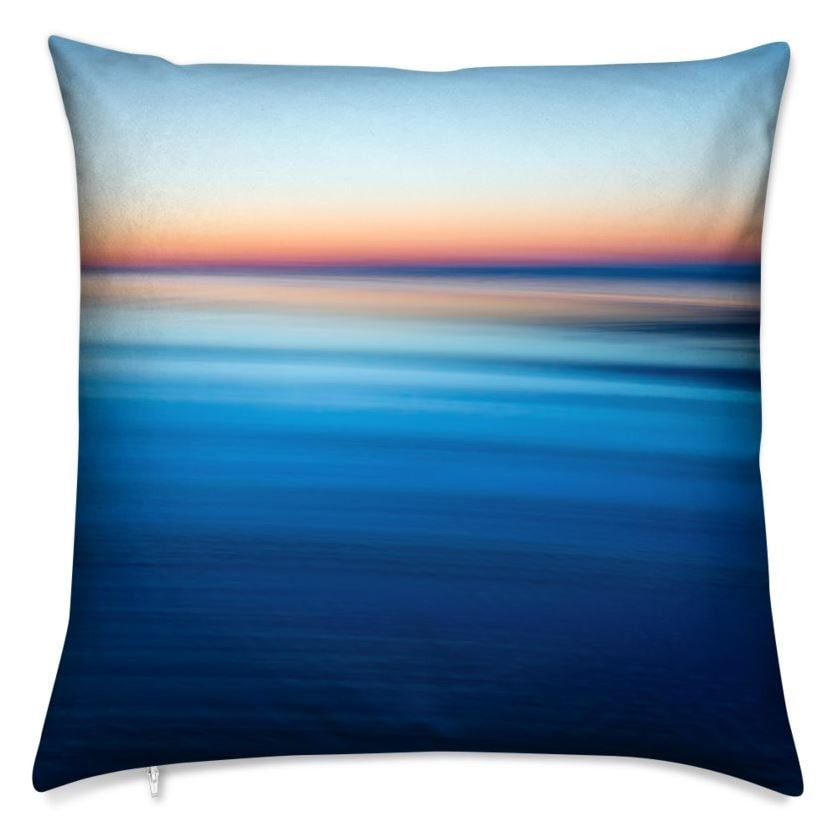 Edge of Sea Sky Day Throw Pillow (Front)