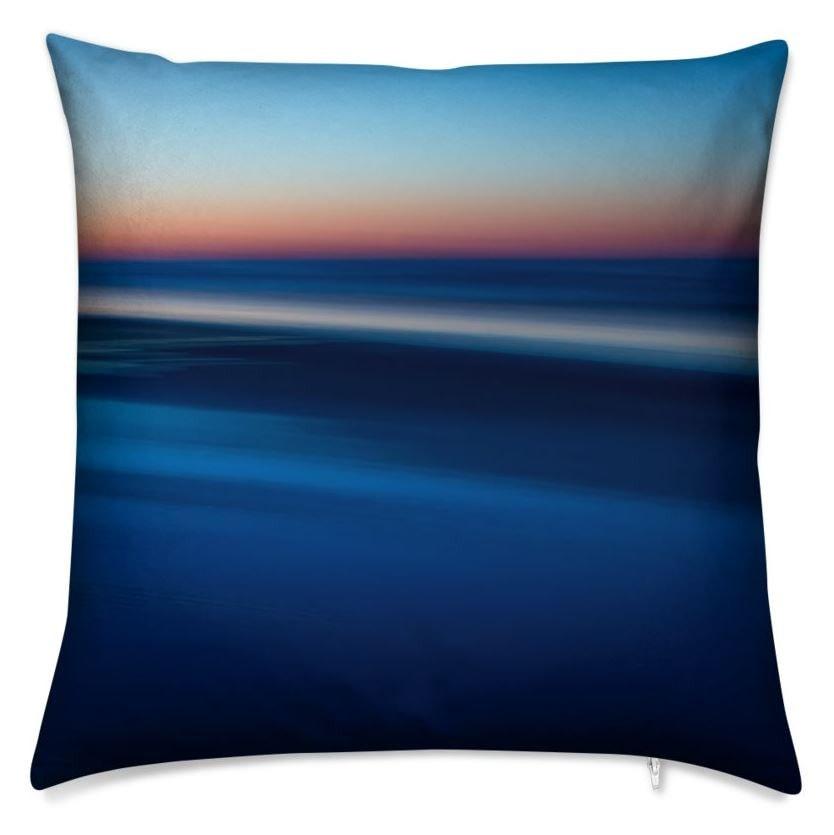 Edge of Sea Sky Day Throw Pillow (Back)