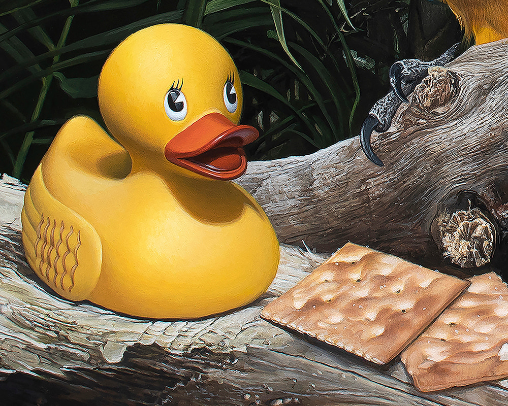 Kevin Grass Polly Wanna Quacker Detail 1 Acrylic on aluminum panel painting