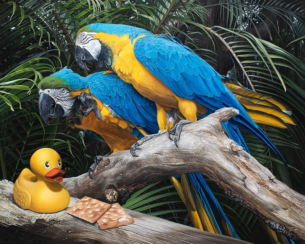 Kevin Grass Polly Wanna Quacker Acrylic on aluminum panel painting