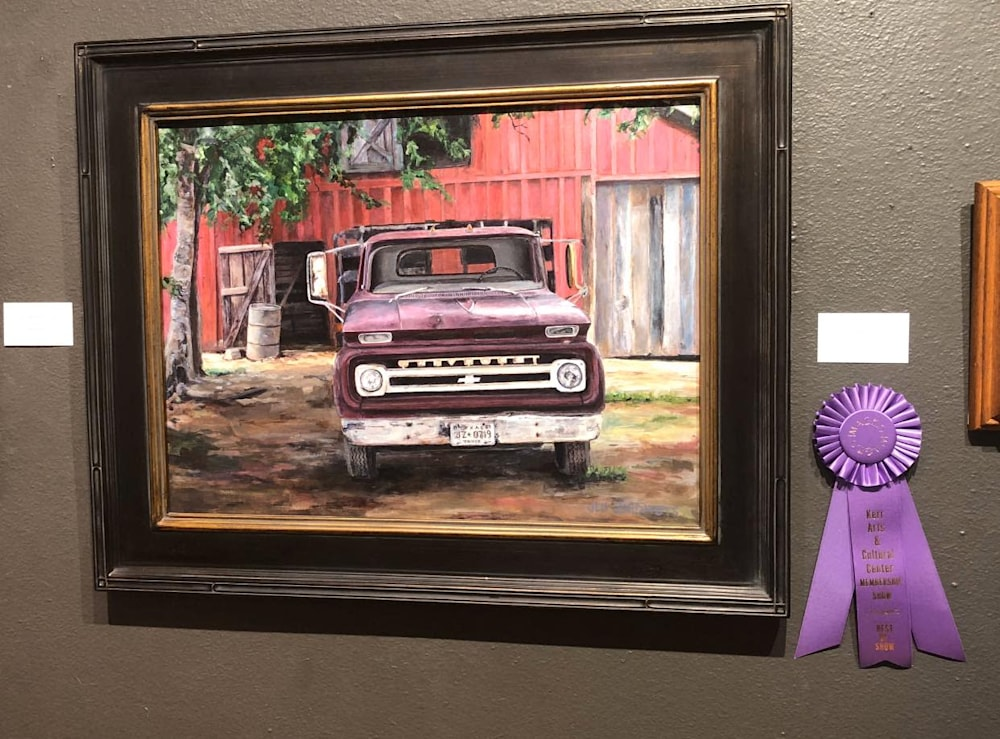 Grandpas chevy with award medal