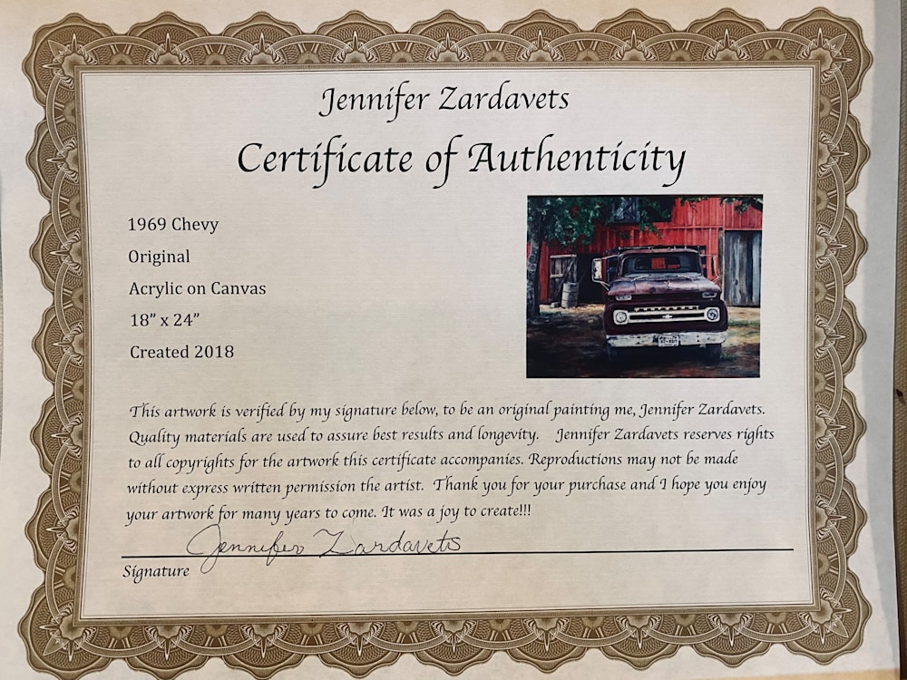 Grandpas Chevy Certificate of Auth