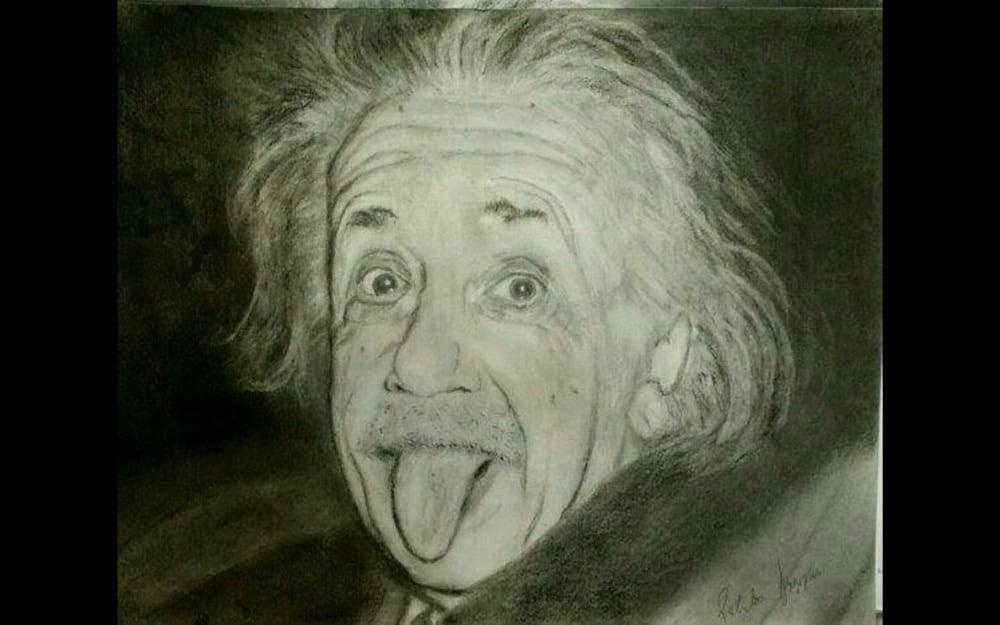 albert Einstein portrait drawing painting