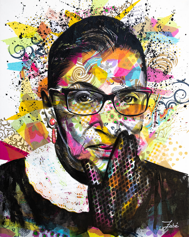 24x30 zabe arts strong women ruth bader ginsburg portrait collage painting