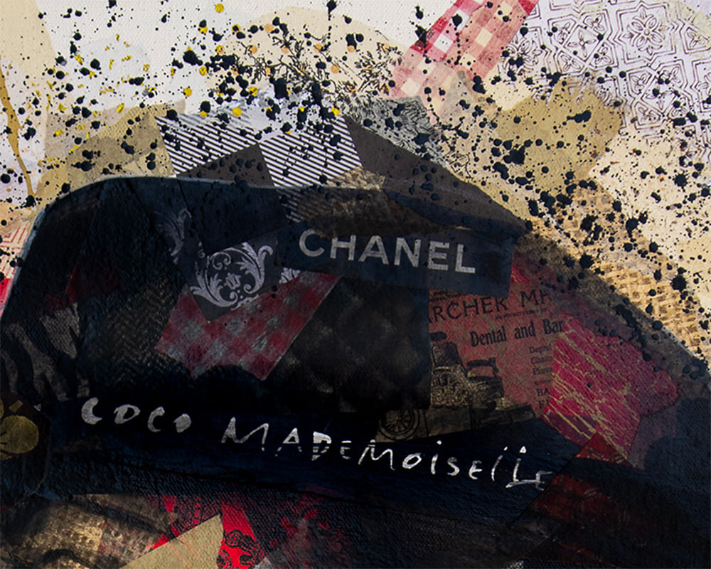 24x30 zabe arts chanel collage painting zoom chapeau