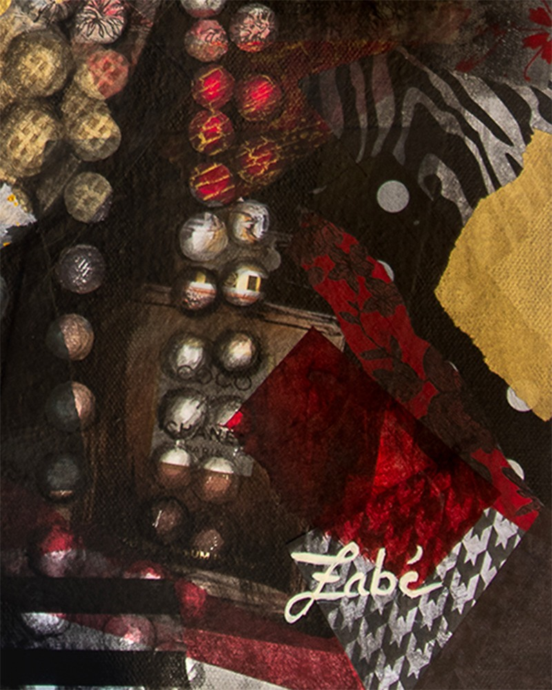 24x30 zabe arts chanel collage painting signature