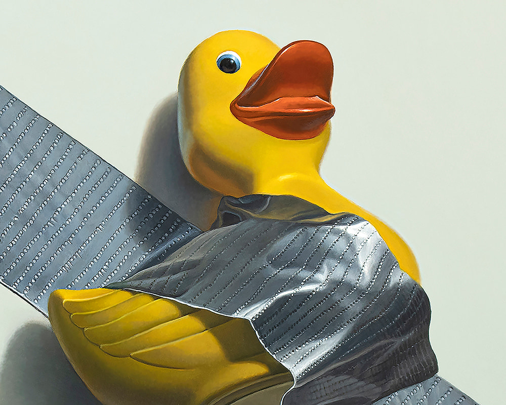 Kevin Grass Duck Taped detail Acrylic on aluminum panel painting