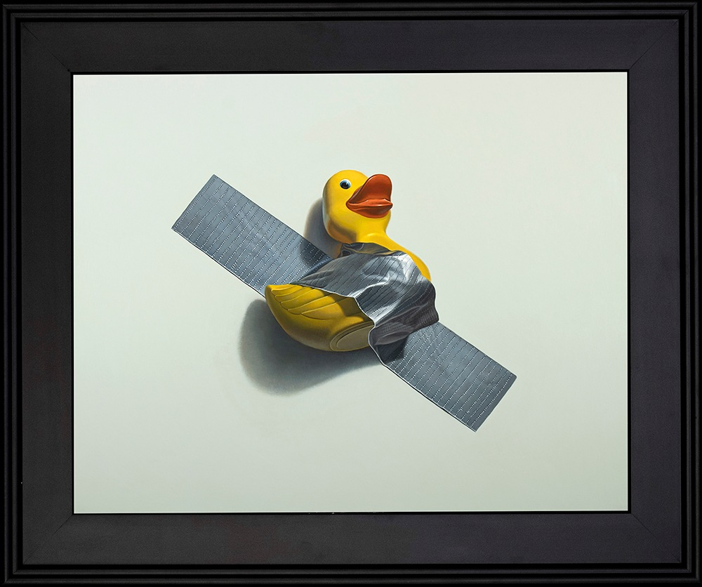 Kevin Grass Duck Taped Black Frame Acrylic on aluminum panel painting