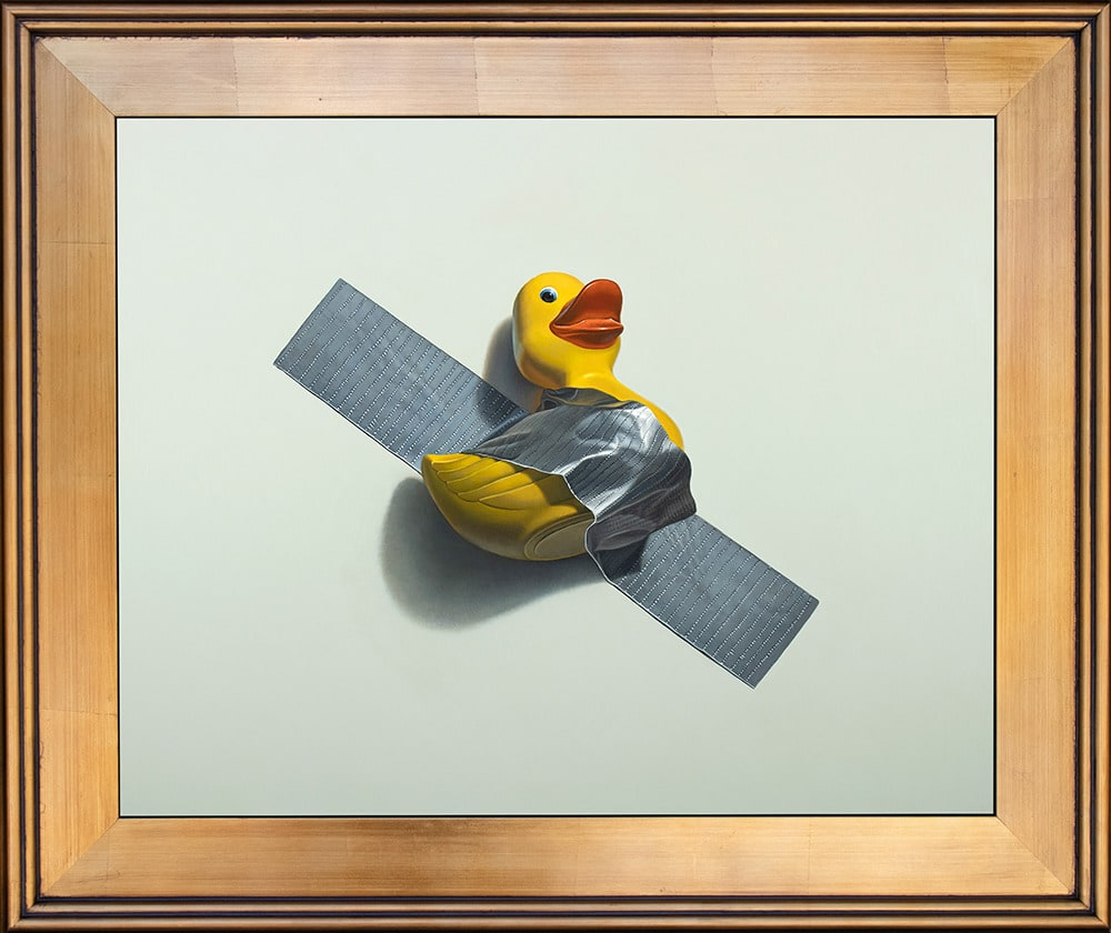Kevin Grass Duck Taped Gold Frame Acrylic on aluminum panel painting