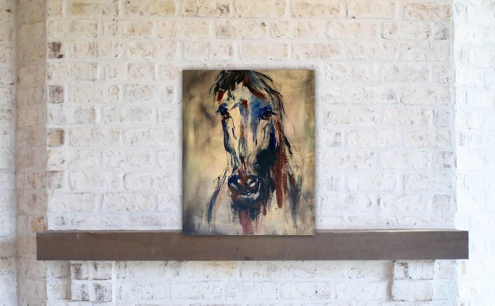 original horse head art painting acrylic
