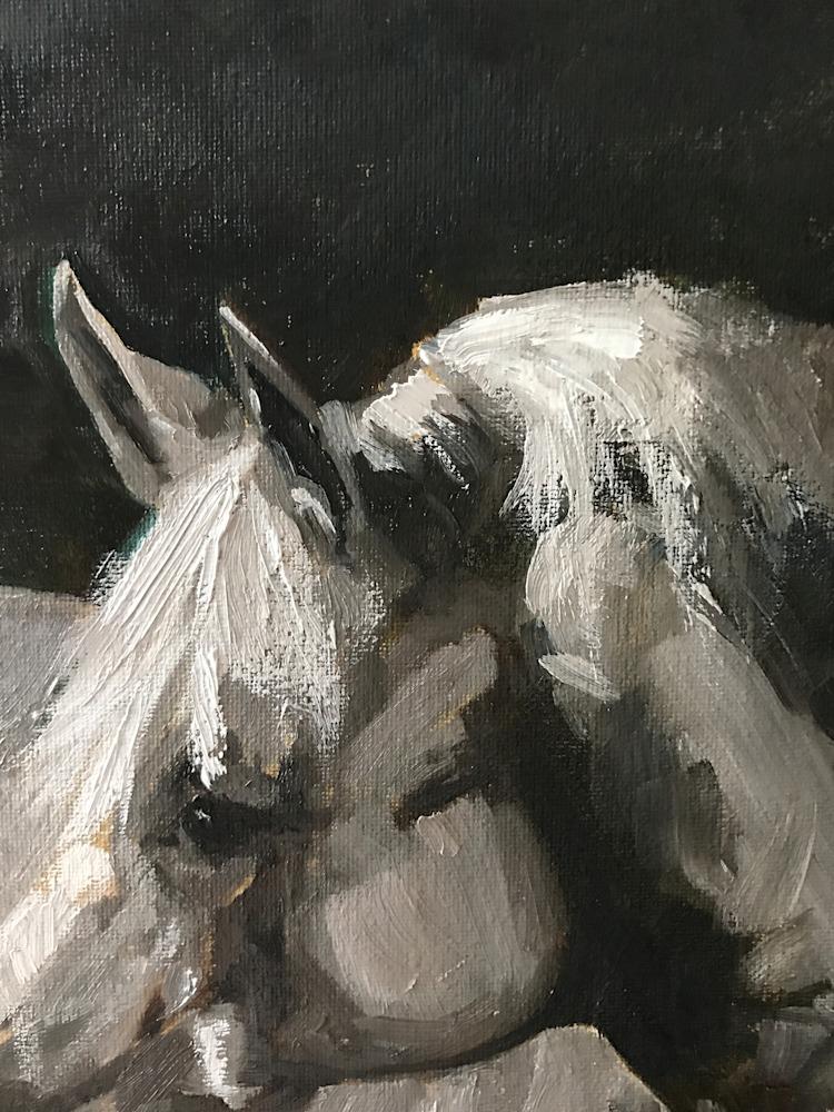 Original painting of Horse by artist April Moffatt close up